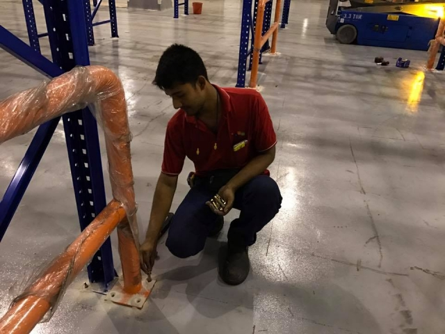 Install Protector Barrier for Pallet Racking